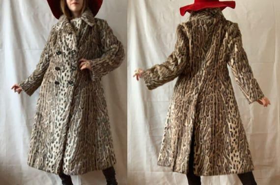 1970s Leopard FAKE FUR Coat, Vintage ANIMAL Print