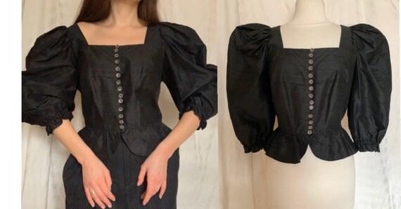 1980s Silk Trachten Blouse, Black Tyrol Blouse,  V