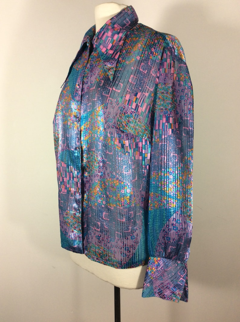 1970/'s blouse with dreamy print in style of Gustav Klimt paintings
