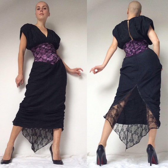 1980s Silk Dress with Spider Web Lace Train, SYMPH