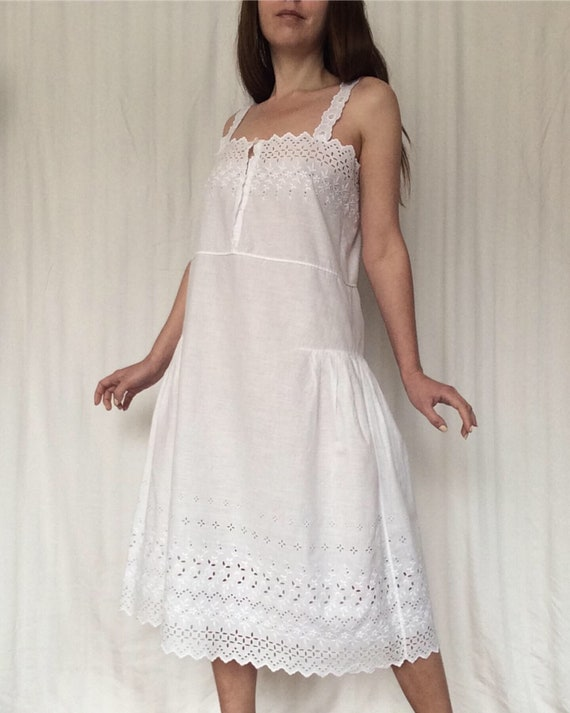 Antique  Cotton Night Gown, Eyelet embroidery Dres