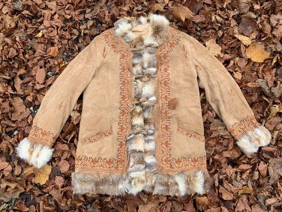 1970s Embroidered Suede Coat with RABBIT fur, Vint