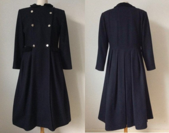 Vintage CACHAREL Coat, 1980s, Black Woolen Coat, M