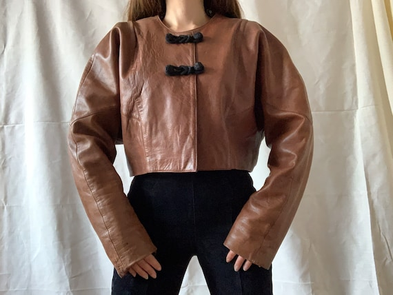1980s leather bolero jacket, vintage cropped leath