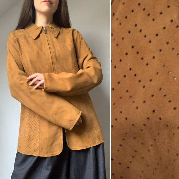 Vintage Suede Blouse, ARMA, Y2K Leather Blouse