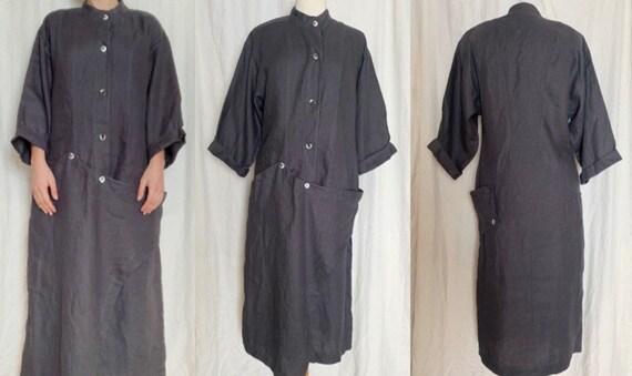 DECONSTRUCTED Dress, VINTAGE Linen Dress, 1980s, S