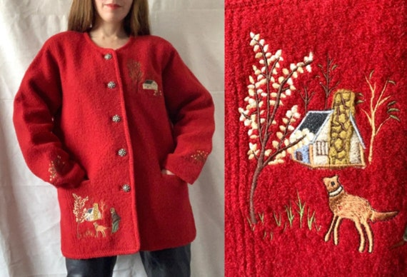Vintage Tyrolean Embroidered Cardigan, Boiled Wool