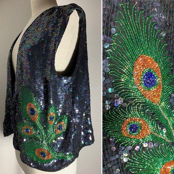 1980s Sequin Embroidered Vest with Peacock,  Enbro