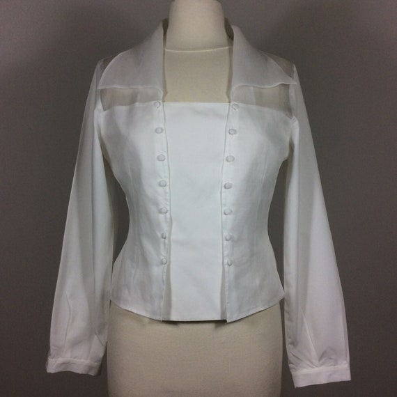 1990s ANNE FONTAINE White Cotton Blouse, Minimalis