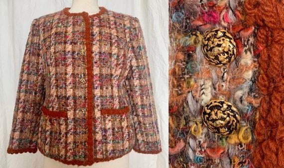 Vintage Chanel Style Jacket, Woolen Jacket, Boucle