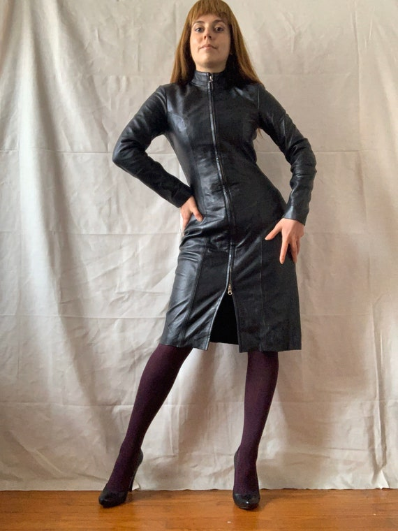 Vintage Black Leather Dress, Bodycon Leather Dress