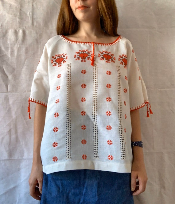1970s Folk Blouse, Embroidered Blouse, Drawn Threa