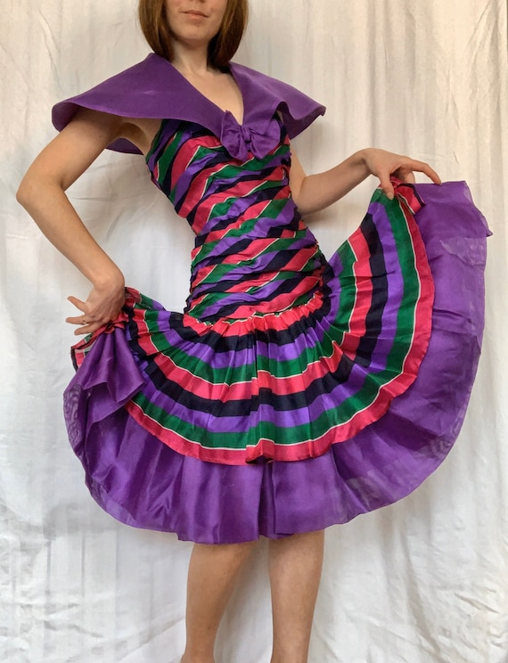 1980s Party Dress, Vintage Ruffle Dress