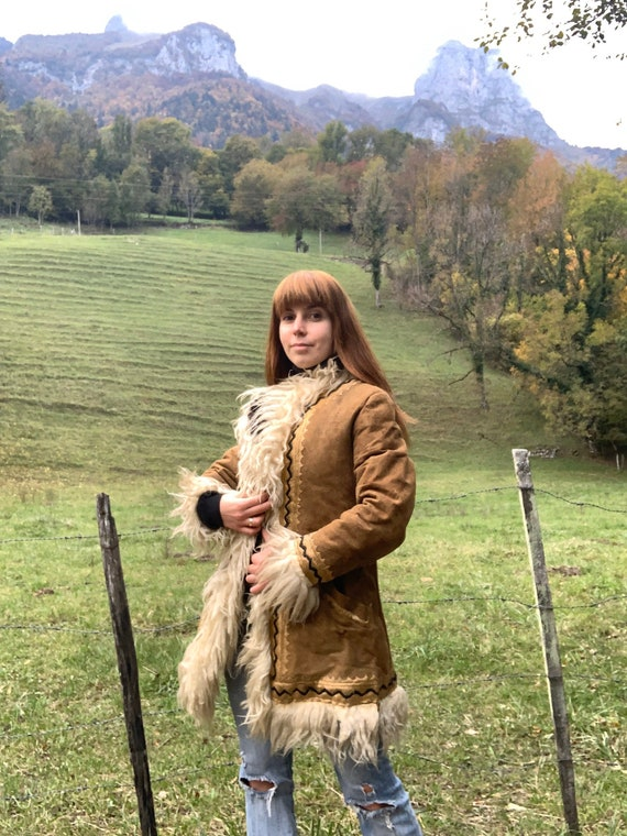 1960s 1970s AFGHAN Sheepskin Coat, EMBROIDERED Sue
