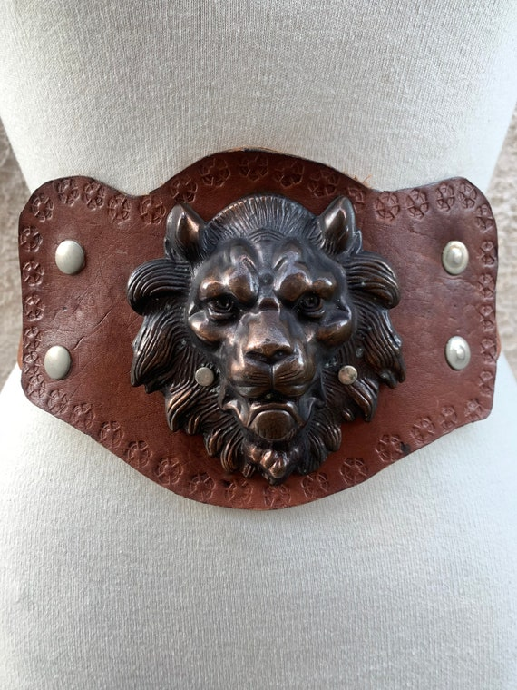 Vintage Tooled Leather Belt, Lion Head Belt Buckle