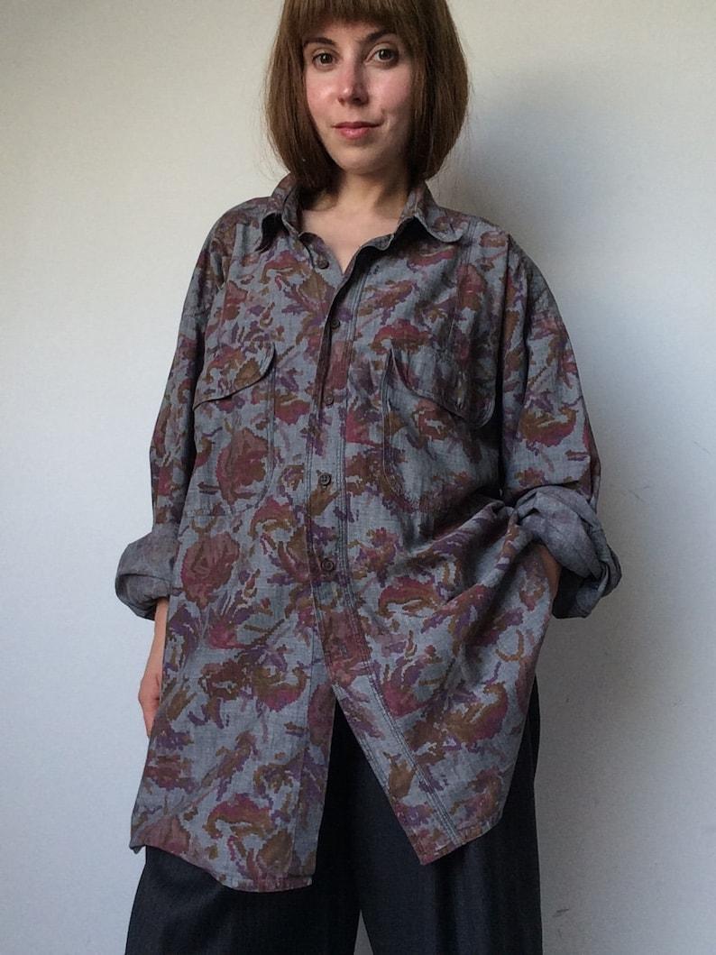 Shirt with Print Roses Print EDITH KUMAR Denim Shirt 90\u2019s Men Shirt Ikat Print