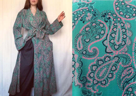 1930s Cotton Dressing Gown, Vintage Paisley Robe