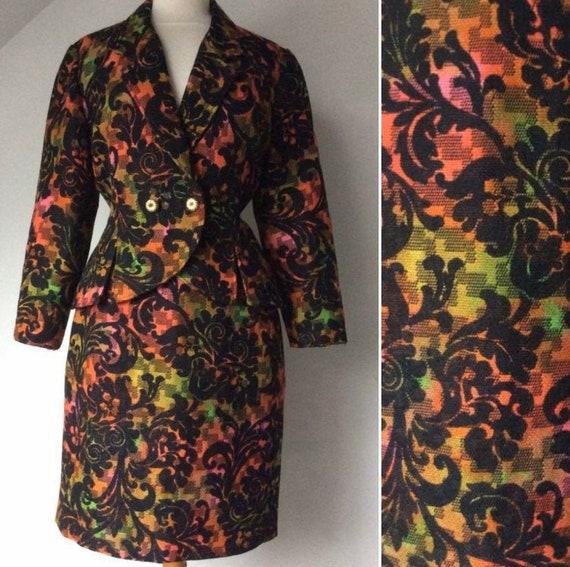 1990s Barocco Print Skirt Set, Woolen Suit,  Woman