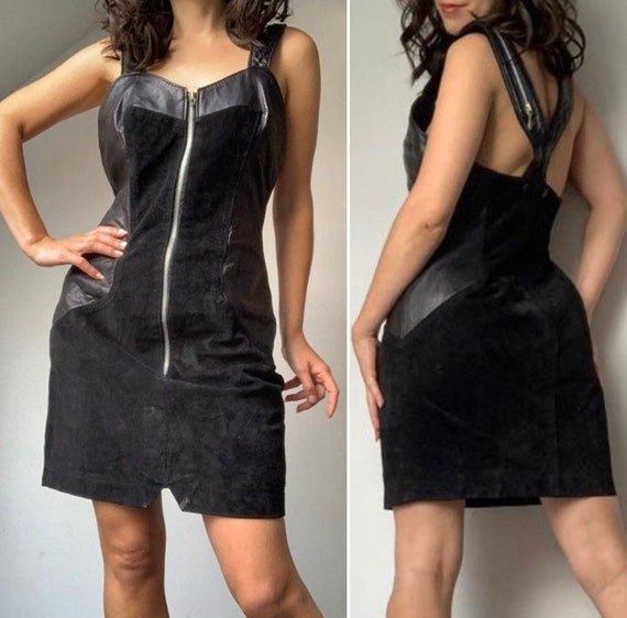 1980s Black Leather Dress, Fetish Leather Dress, L
