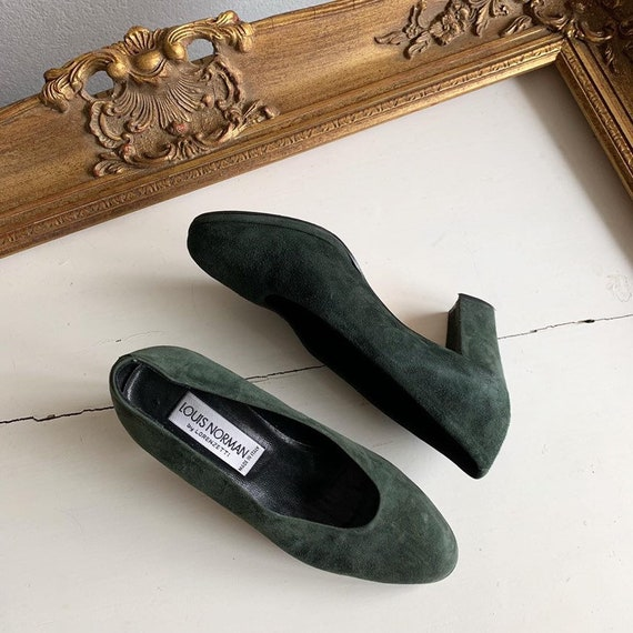Vintage GREEN SUEDE PUMPS, 1980's, Louis Norman by