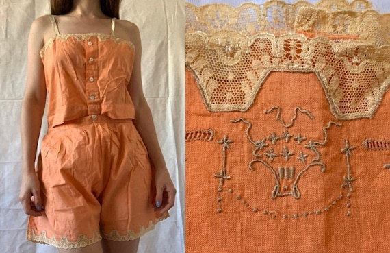 1920s Step-In Teddy, Art Deco Playsuit