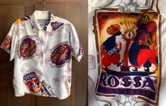 1990s Cotton Blouse LE GARAGE, Vintage CIGARETTE A
