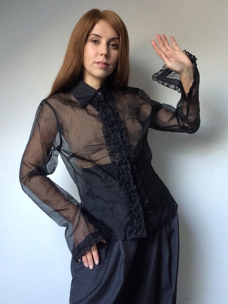 Silk Blouse Solit Sleeves Black Organza Blouse Bell Sleeves Transparent Blouse Vintage 90/'s Blouse Romantic Blouse Frilled Blouse