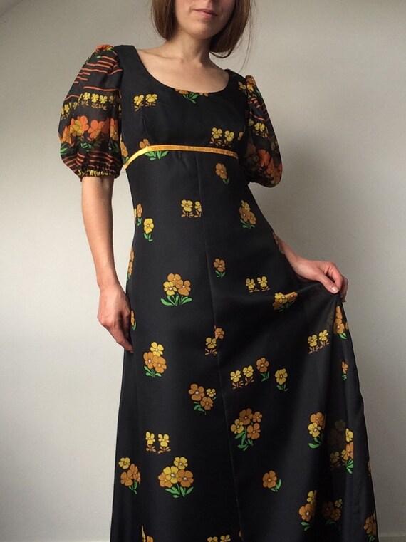 VERA MONT 1970s Maxi Dress Size Small Bohemian Dress Dress Puffy Sleeves