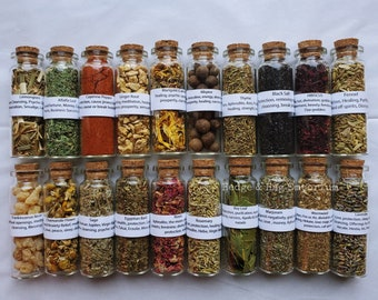 Witchcraft Herb Jars, Herbs, Herb starter, Witch Mystery Box, Herb starter kit, Wicca Herbs, Apothecary, Pagan, spices, dried herbs