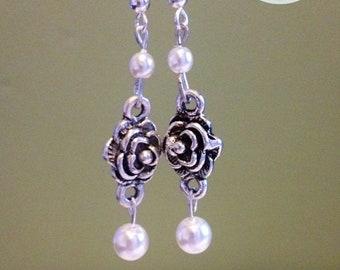 Handmade Rose & Pearl Earrings