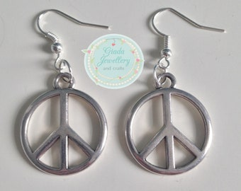 Handmade Peace Sign Earrings (available with beads or without!)