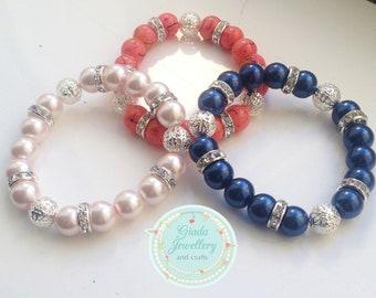 Handmade Bespoke Beaded Filigree & Diamante Bracelet