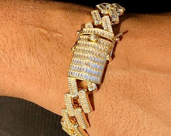 Mens Miami Cuban Bracelet 14k Gold Finish Fully Iced Out Secure Box Lock 15MM