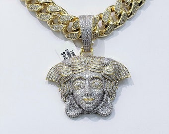 6584489e72b MEDUSA Charm Fully Iced Out & Thick 19mm Solid MIAMI CUBAN Links VS1  Clarity Crystals