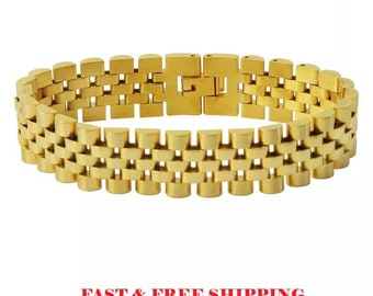 5fcccbedaef Men s 18k Gold Stainless Steel Bracelet Rolex Watch Band Link