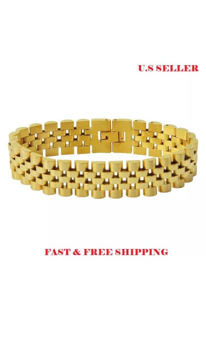 b73d8881e Mens 18k Gold Stainless Steel Bracelet Rolex Watch Band Link | Etsy
