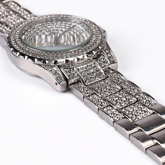 Iced Out Bling CZ Silver Micro-Pave Stainless Steel Jasmine S6-10 Women Men Ring