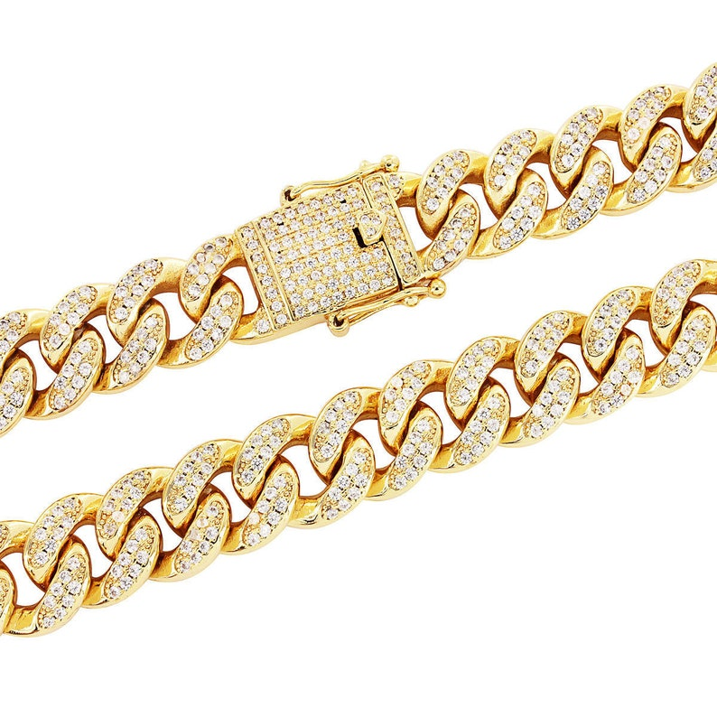 """Miami Cuban Link Yellow Gold Finish Fully Iced-Out 30/"""" Full Stone Hip Hop Chain"""