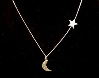 Sterling silver Celtic moon & star necklace Boho Gypsy Renaissance inspired chain necklace Pegan Wiccan Celestial