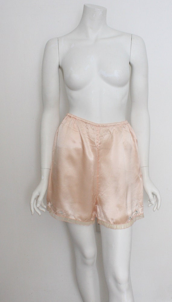 Vintage Satin Knickers WWII Utility Peach French K