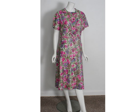 Vintage 1950s 1960s cotton Housecoat Dress Kenrose
