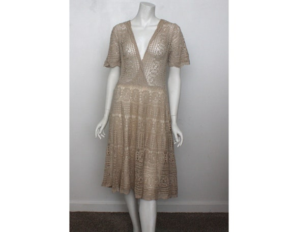 Vintage Crochet Dress Hand crochet cream cotton (D