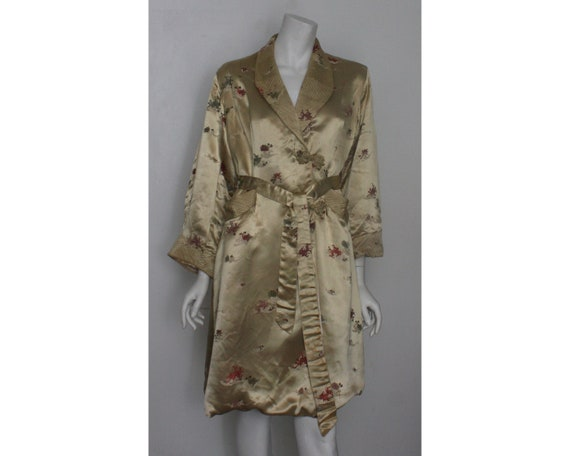 Vintage Satin Chinese Robe Dressing gown 1950s UK