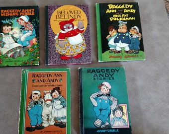 10 Vintage 1960's Raggedy Ann & Andy Series Hardback Books Johnny Gruelle