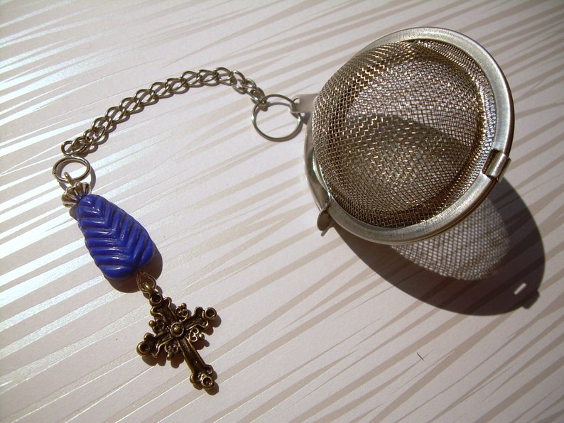 Old Pressed Glass Blue and Brass Cross Charm Personal Tea Ball Infuser Stainless Steel Ball /& Chain Hand Made Great Gift One of a Kind TB3