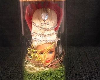Vintage Barbie Doll Head Terrarium Jar - Scary Creepy Halloween Art