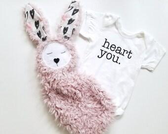 Heart you pink bunny lovie / baby security blanket/ minky lovie/ personalized baby lovie