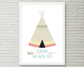 """Poster wall """"Welcome to our tribe"""" teepee A4 (digital)"""