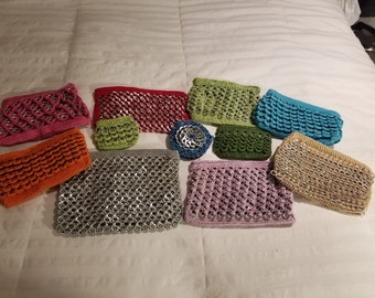 Recycled Pull Tab Soda -  Bag w/Zipper, Beautifully Hand Crafted Handbag -
