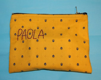 case, multi-purpose bag with personalized hand-sewn writing